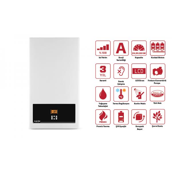 Airfel Digifel Premix 30 kW (26.000 kcal/h) Tam Yoğuşmalı Kombi